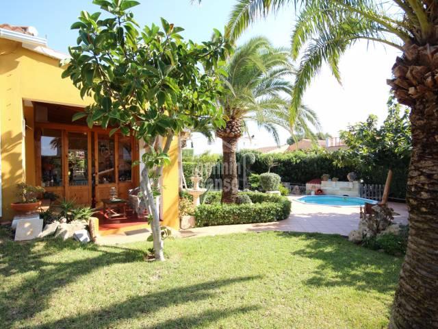 Swimming Pool, Front, Garden - Charming and cozy villa in Cales Piques, Ciutadella, Menorca
