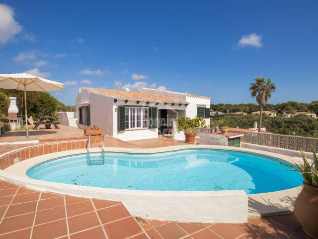 Wonderful views from this typical Menorquin style chalet in Binibeca, Menorca .