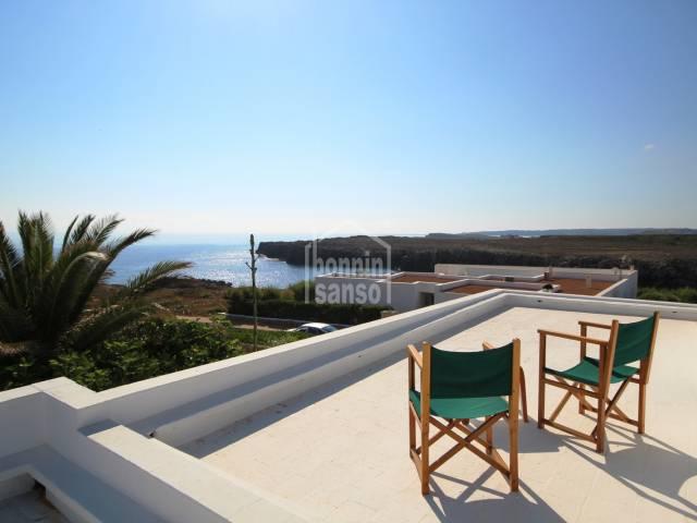 Vistas, Terraza - Villa recien reformada con jardin y vistas al mar en Punta Grossa, Menorca