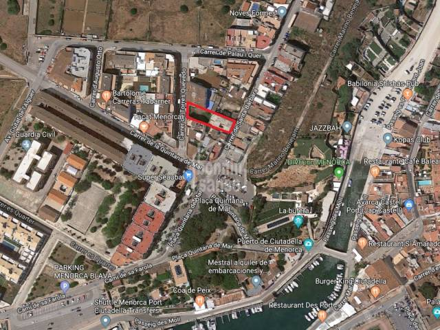 Building plot opening  onto two streets in Ciudadela, Menorca.