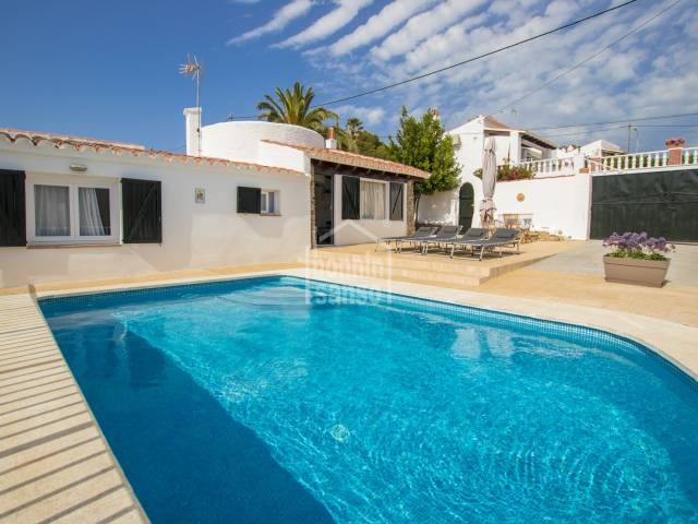 Renovated villa with two bedrooms and pool in Calan Porter, Menorca.