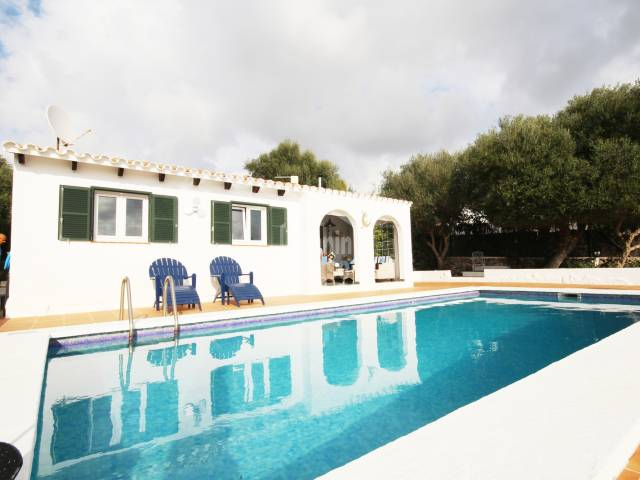 Pretty Villa with distant seaviews within walking distanc eof the beach in Binisafua Playa, Menorca.