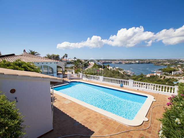Impeccable south west facing villa with amazing views of the Port of Mahon in Cala llonga, Menorca.