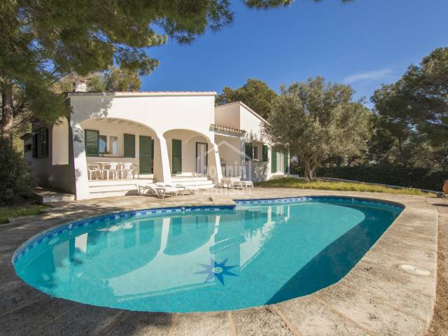 South facing villa on a large plot, Cala Canutells. Menorca