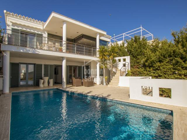 Modern villa with pool  and excellent views over the bay of Fornells on the north coast of Menorca.
