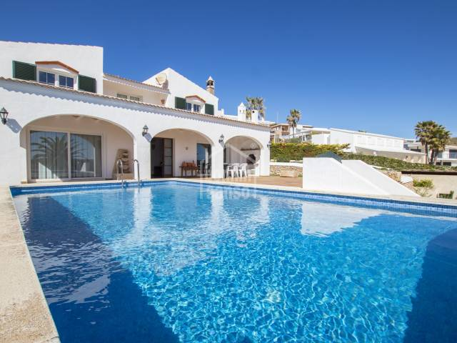 Detached two storey villa with spectacular views over the bay of Fornells, Menorca.