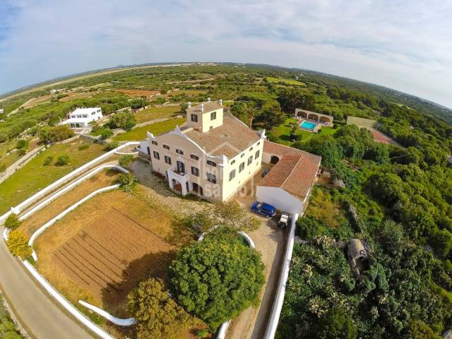 Splendid example of a nineteenth century manor house,  sea views Sant lluis.  Menorca