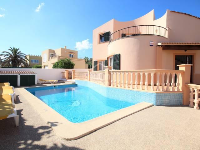 Piscina, Fachada - Elegante chalet con piscina en Cala Blanca, Ciutadella, Menorca