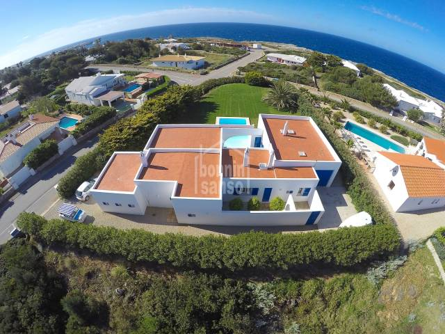 Mediterranean villa with large gardens and pool, overlooking the sea, Binidali Menorca