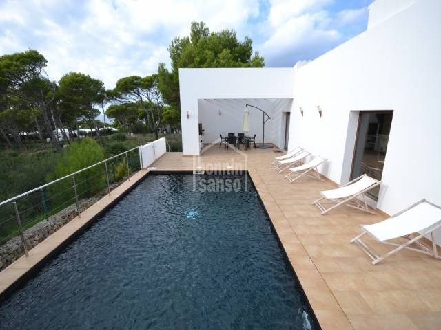 Modern villa with private garden in Cala Morell, Menorca