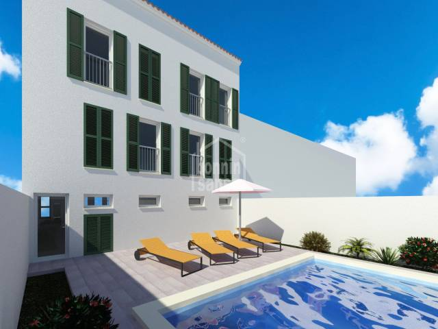 New development of 4 houses and a local with communal pool in Mahón, Menorca
