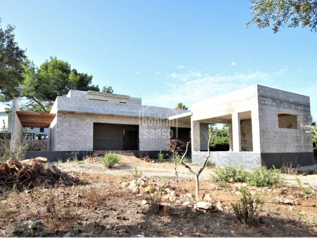 Villa in construction with a project in Sa Caleta, Ciudadela, Menorca.