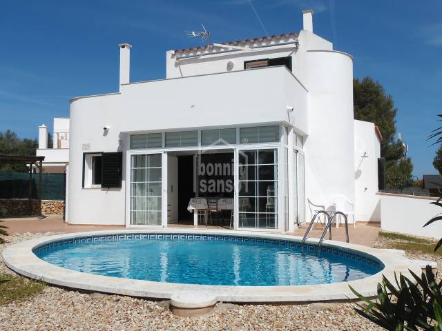 Villa with pool and distant panarmaic sea views in Binibeca, Menorca