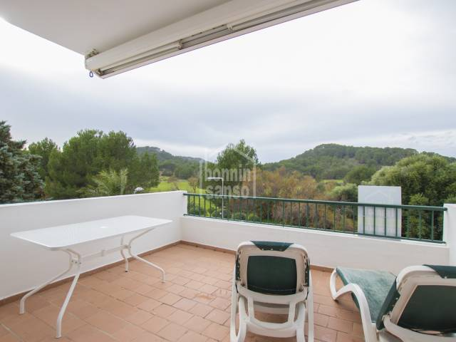 Modern terraced house with views over the Son Parc Golf course. Menorca.