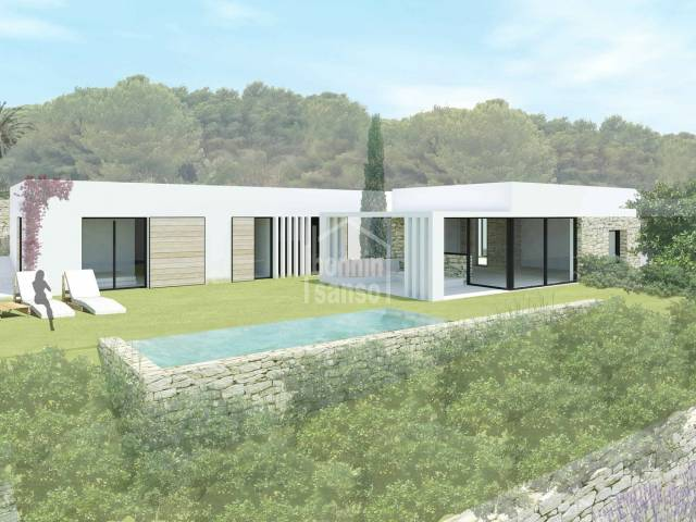 New Villa under construction with panoramic views over Port Addaya, Macaret. Coves Noves Menorca