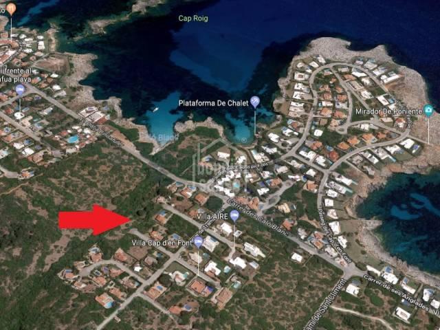 Solar de 1000 m² en la urbanización costera de Cap den Font, al sur de Menorca