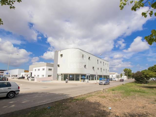 Modern building in a busy area of the Industrial Estate, Mahon, Menorca.