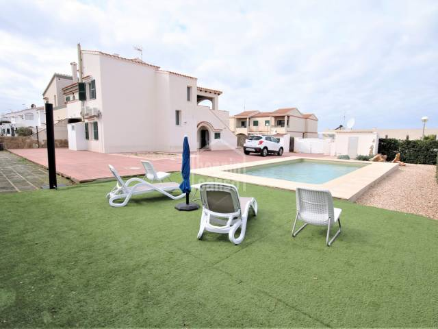 Swimming Pool, Front, Garden - Semi-detached house in second line with pool and extensive garden, in Los Delfines, Ciutadella, Menorca