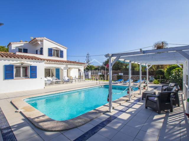 Well maintained villa in cul de sac with pool located in residential area of Trebaluger, Menorca