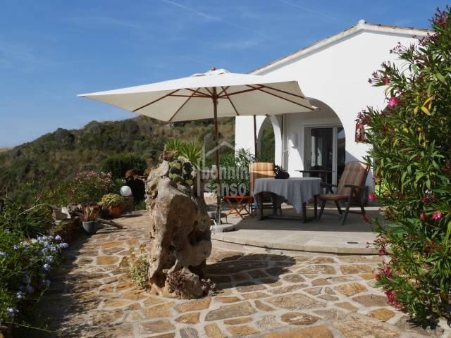Attractive villa surrounded by countryside and sea views close to the beach of Cala Tirant, Mercadal,Menorca.